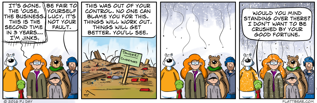 A well timed snowstorm.  The comic strips secret weapon.